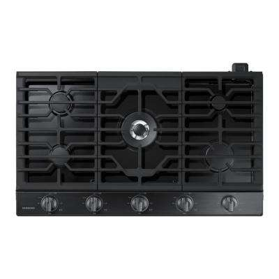 36 in. Gas Cooktop in Fingerprint Resistant Black Stainless with 5 Burners including Power Burner with Wi-Fi