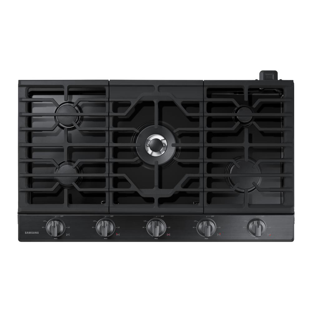 Gas Cooktop In Fingerprint Resistant Black Stainless With 5 Burners Including