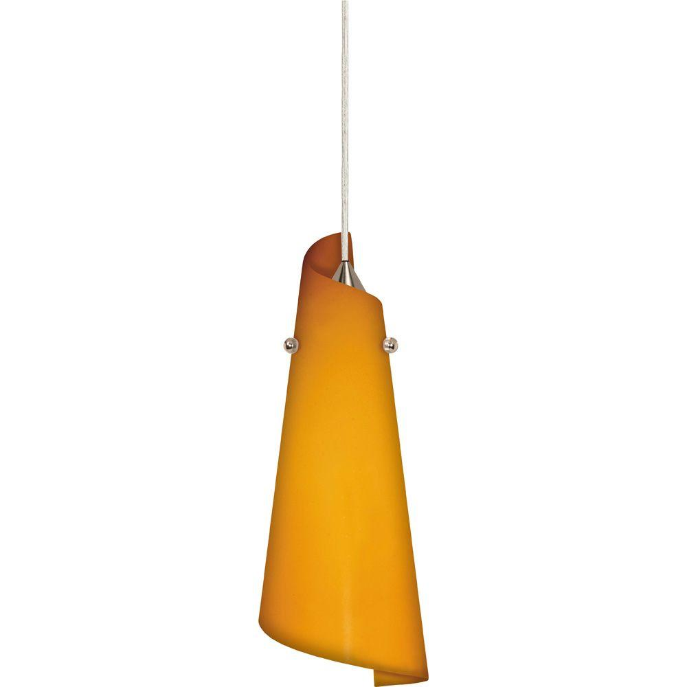 Glomar 1-Light Brushed Nickel Halogen Pendant with Butterscotch Paper Twist Glass -DISCONTINUED