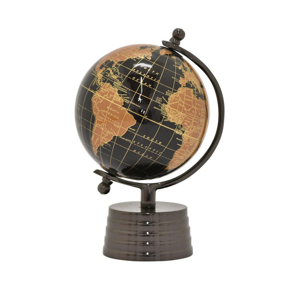 10 in. Metal Globe 5 in. - Nickel Base in Black