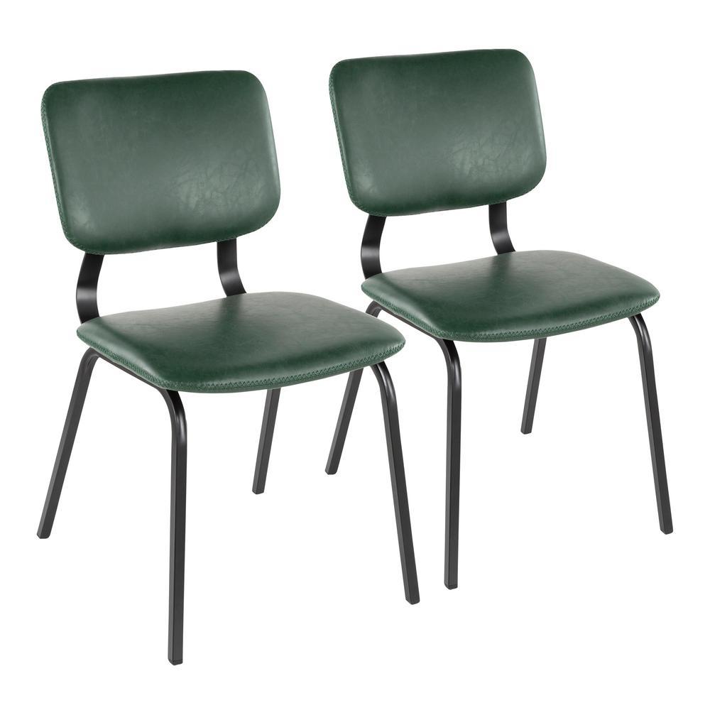 Foundry Green Faux Leather Chair with Green Stitching (Set of 2)
