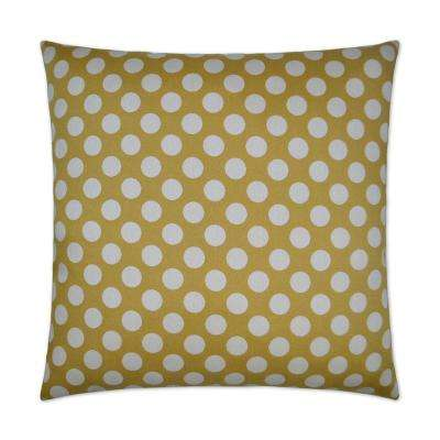 Polka Dots Gold Feather Down 24 in. x 24 in. Standard Decorative Throw Pillow