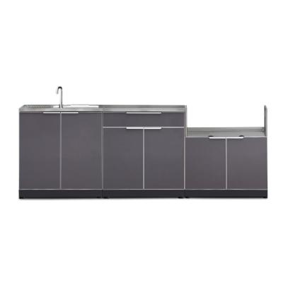 Slate Gray 4-Piece 97 in. W x 36.5 in. H x 24 in. D Outdoor Kitchen Cabinet Set