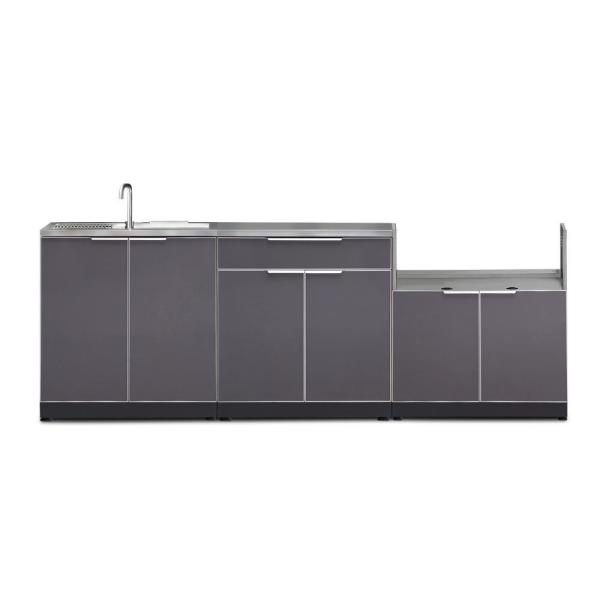 Newage Products Slate Gray 4 Piece 97 In W X 36 5 In H X 24 In D Outdoor Kitchen Cabinet Set 65258 The Home Depot