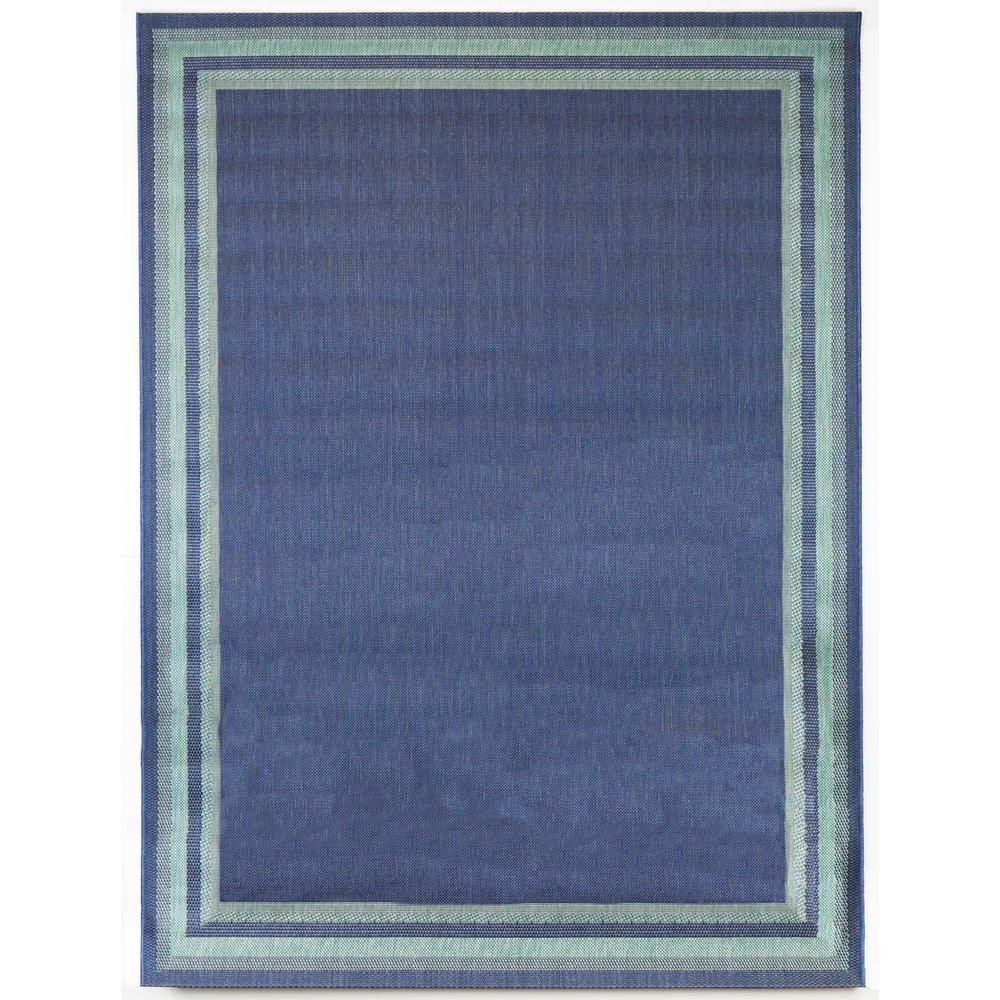 Hampton Bay Border Aqua Navy 7 ft. 10 in. x 9 ft. 10 in. Indoor/Outdoor Area Rug