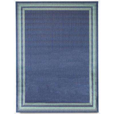Border Aqua Navy 7 ft. 10 in. x 9 ft. 10 in. Indoor/Outdoor Area Rug