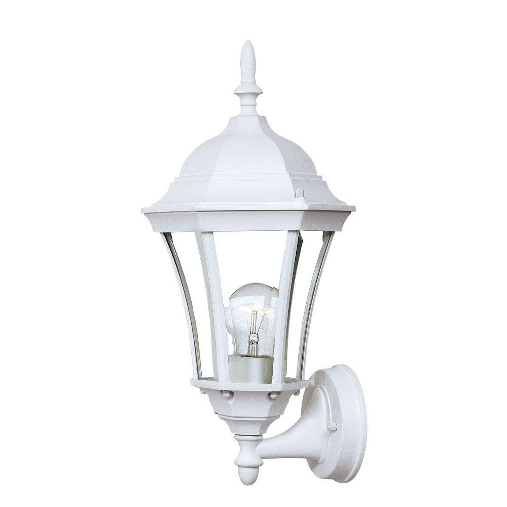 Brynmawr Collection 1-Light Textured White Outdoor Wall-Mount Light Fixture
