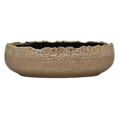 3.75 in. Ceramic Flower Pot in Bronze
