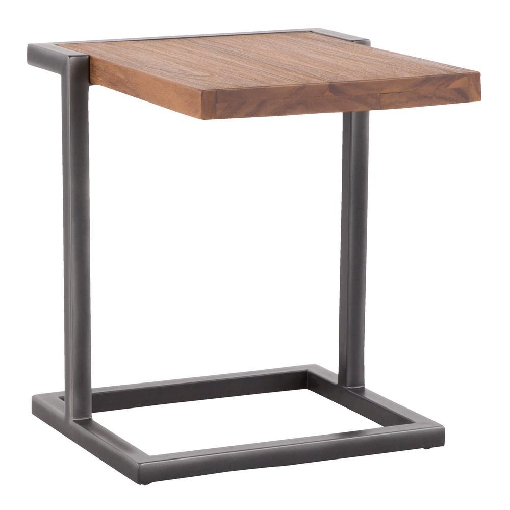 Java Antique Metal and Brown Teak Wood Side Table