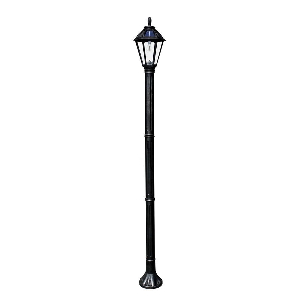 Gama Sonic Polaris Solar Medium 1-Light Black Resin LED Outdoor Post Light and Lamp Post with Warm-White GS LED Bulb