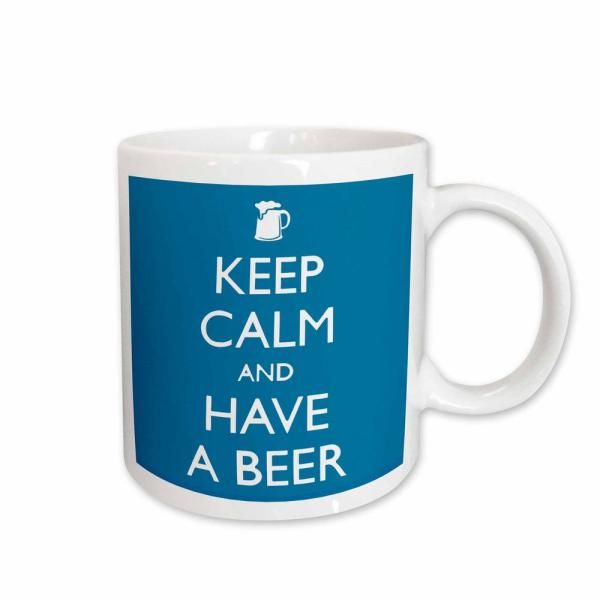 248bf288d 3dRose EvaDane Funny Quotes Keep Calm and have a Beer in Blue 11 oz. White
