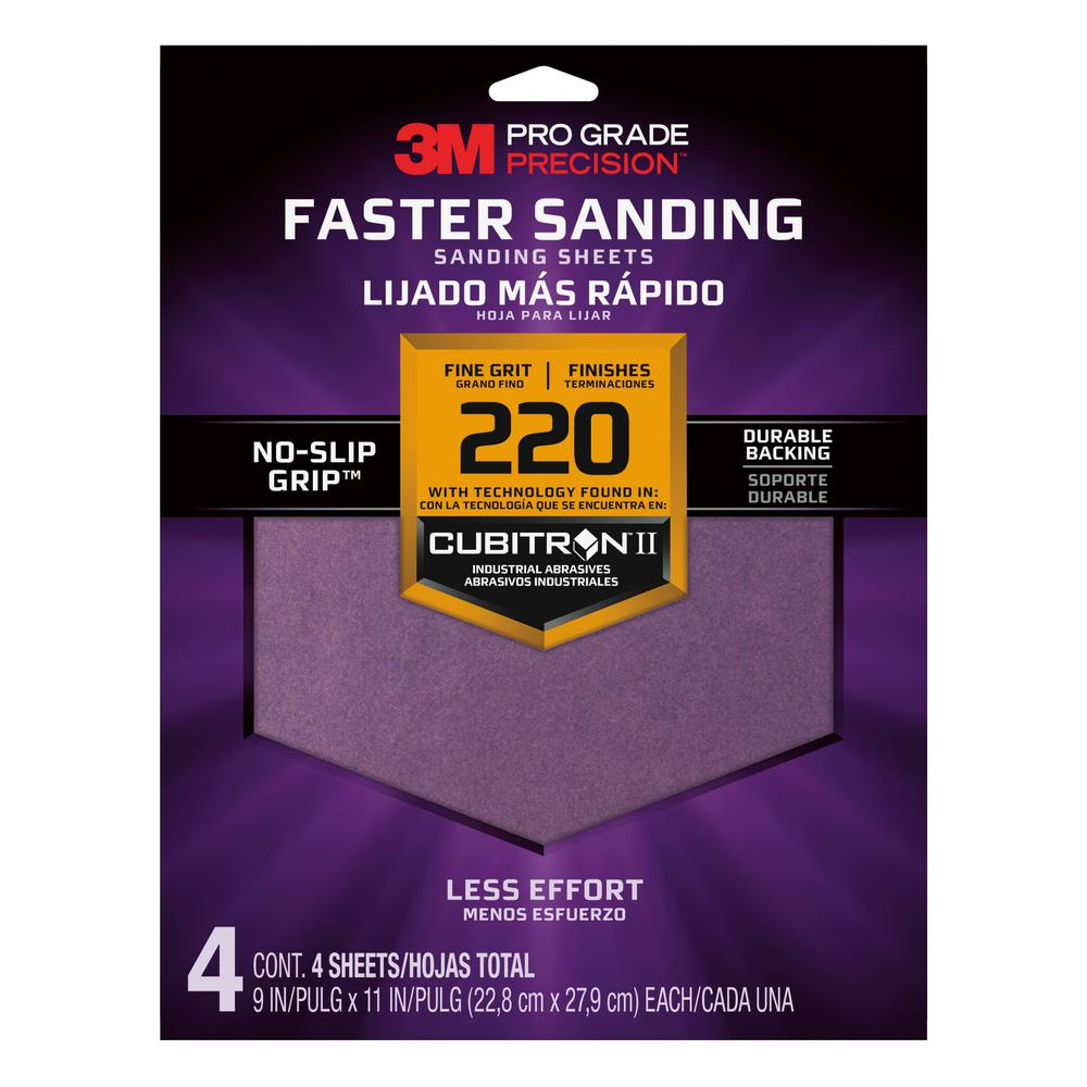 3M Pro Grade Precision 9 in. x 11 in. 220 Grit Fine Advanced Sanding Sheets (4-Pack)