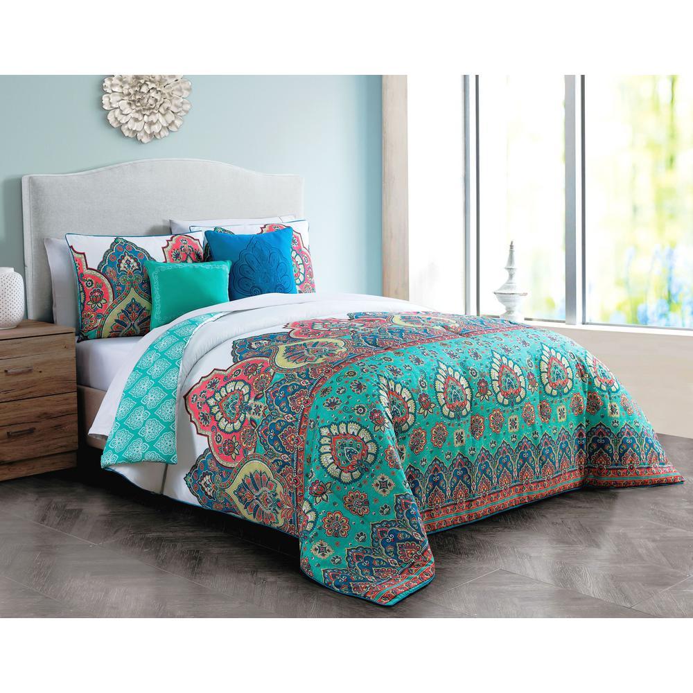 Livia 5-Piece Jade Green Queen Comforter Set
