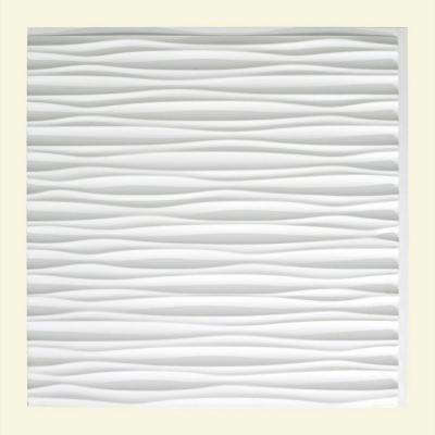 Dunes Horizontal 2 ft. x 2 ft. Glue-up Ceiling Tile in Matte White
