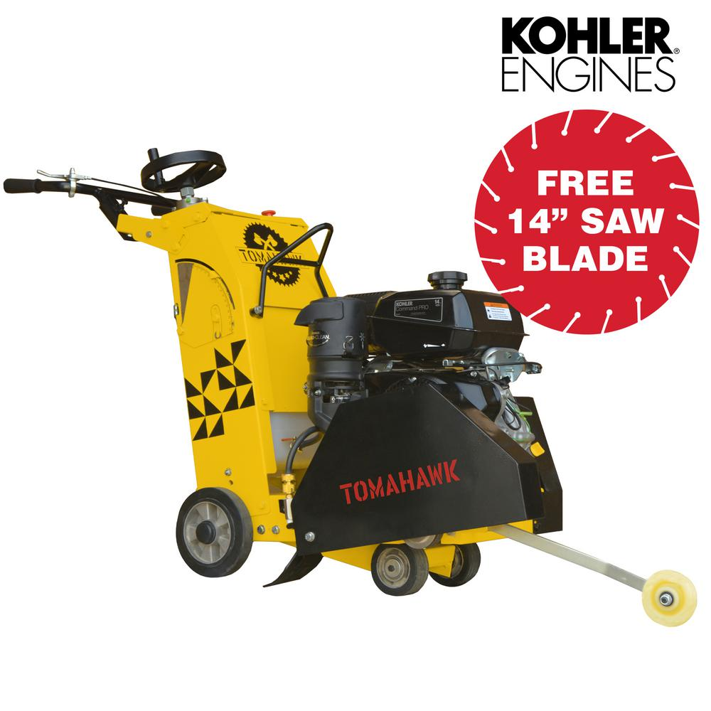Tomahawk Power 18 in. 14 HP Kohler Walk Behind Concrete Saw with CH440 Kohler Engine for Concrete and Asphalt Cutting