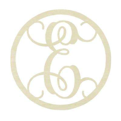 19 in. Unfinished Single Circle Monogram (E)