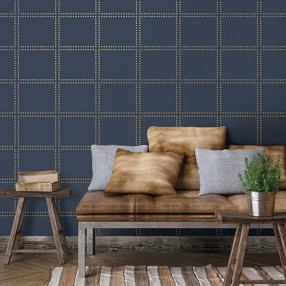 Gridlock Navy Geometric Wallpaper