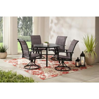 High Garden Black Steel Padded Sling Outdoor Patio Swivel Dining Chairs (2-Pack)