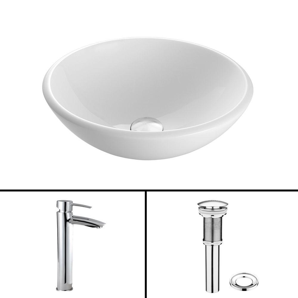 VIGO Glass Vessel Sink in White Phoenix Stone and Shadow Faucet Set ...