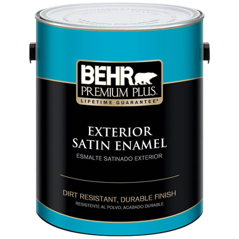 Behr premium plus 1 gal ultra pure white satin enamel exterior paint and primer in one 905001 for Behr exterior white paint colors