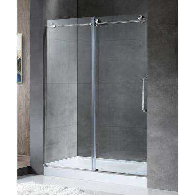 MADAM Series 60 in. by 76 in. Frameless Sliding Shower Door in Brushed Nickel with Handle