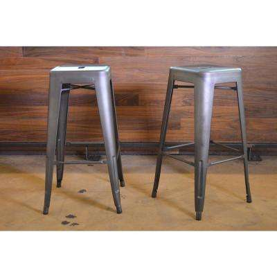 loft style 30 in stackable metal bar stool in gunmetal