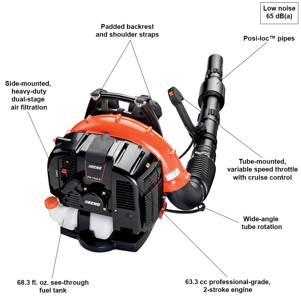 Echo 214 Mph 535 Cfm 63 3 Cc Gas 2 Stroke Cycle Backpack Leaf Blower With Tube Throttle Pb 760lnt The Home Depot