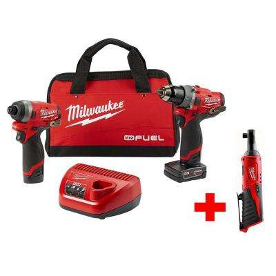 M12 FUEL 12-Volt Li-Ion Brushless Cordless Hammer Drill and Impact Driver Combo Kit (2-Tool)W/ Free M12 3/8 in. Ratchet