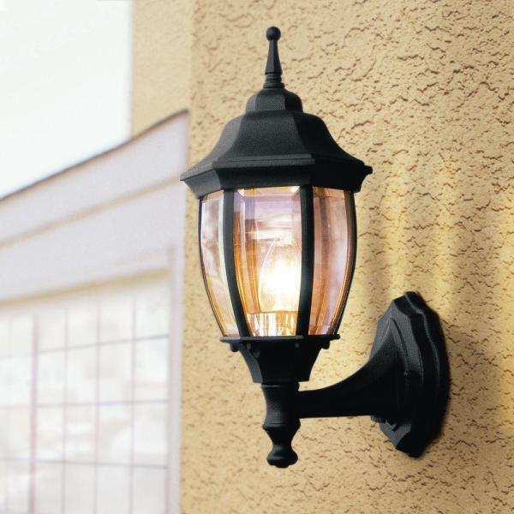 Hampton Bay 1 Light Black Dusk To Dawn Outdoor Wall Lantern Sconce Bpp1611 Blk The Home Depot