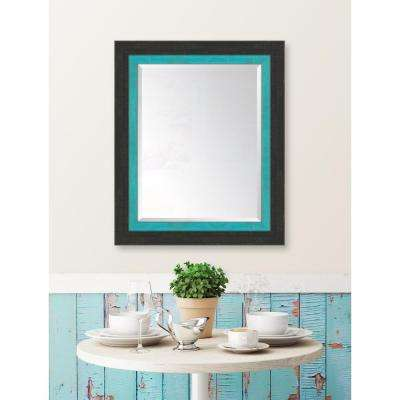 30 in. x 36 in. Framed Slate Black Large and Turquoise Mirror