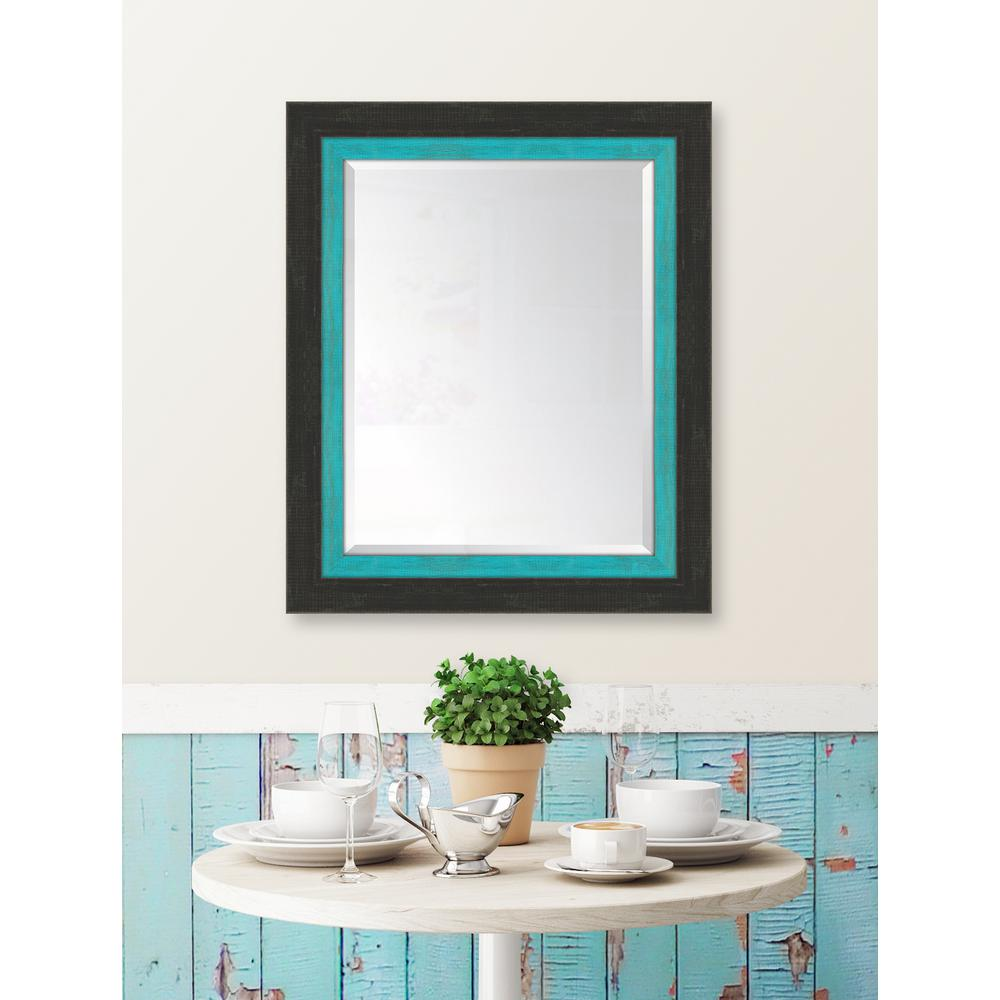 Framed Slate Black Large And Turquoise