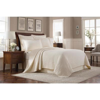 Williamsburg Abby Ivory Solid Queen Coverlet