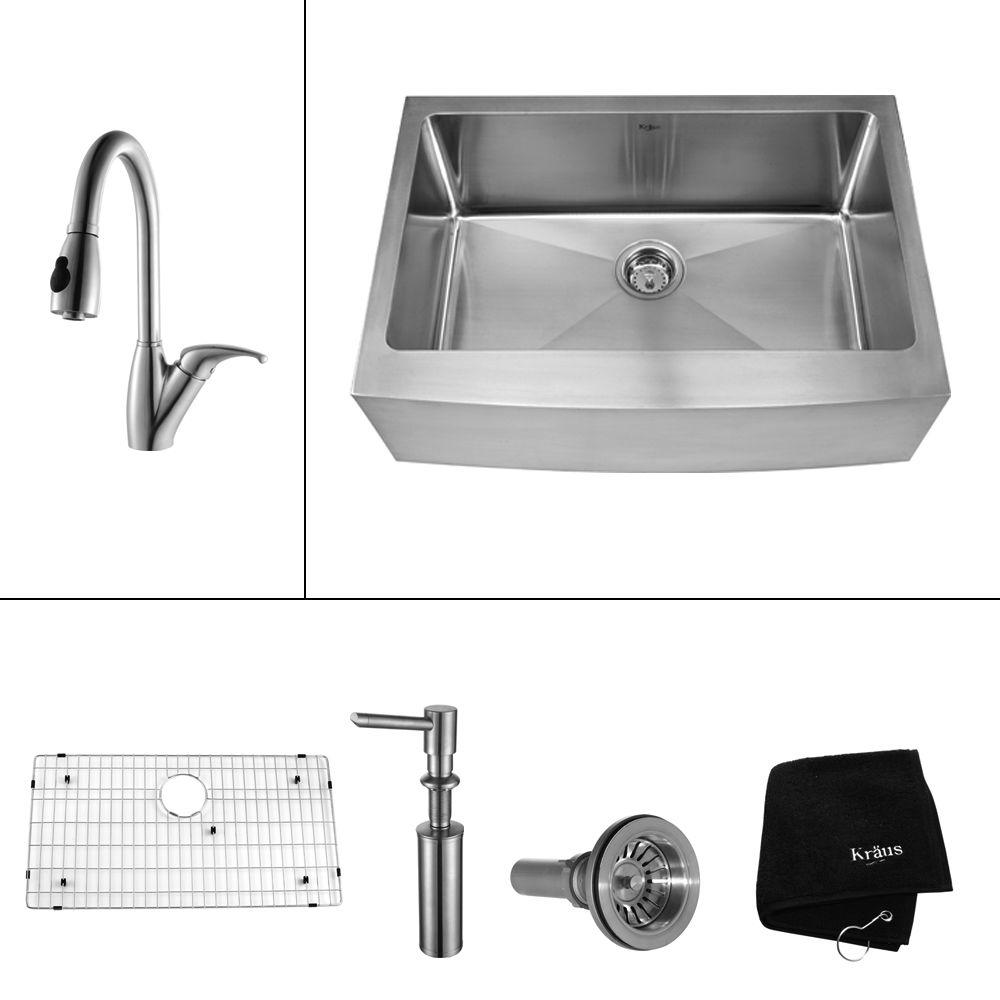 KRAUS All-in-One Farmhouse Apron Front Stainless Steel 30 in. Single Bowl Kitchen Sink with Faucet in Stainless Steel