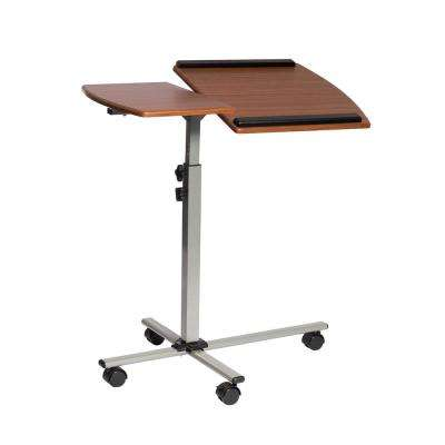 Mahogany Rolling Adjustable Laptop Cart
