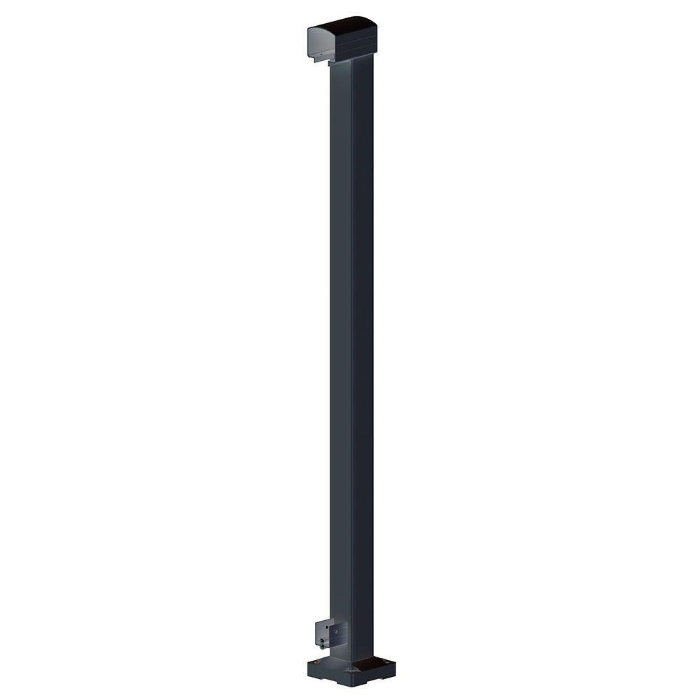 Peak Aluminum Railing 2 in. x 2 in. x 42 in. Black Aluminum End Post