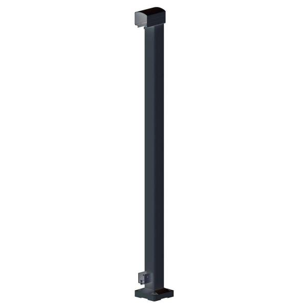 2 in. x 2 in. x 42 in. Black Aluminum End Post