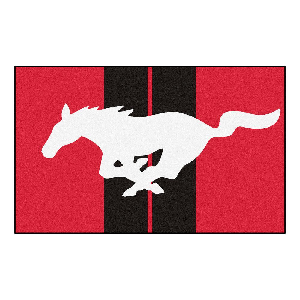 Fanmats Ford Mustang Horse Red 6 Ft X 4 Ft Indoor Rectangle Area
