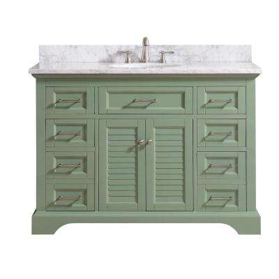 Colton 49 in. W x 22 in. D x 35 in. H Bath Vanity in Basil Green with Marble Vanity Top in Carrara White with Basin