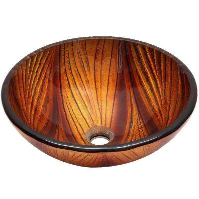 Della Glass Vessel Sink Blended in Copper and Earthy Brown
