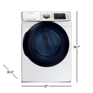 Samsung 7 5 cu  ft  Electric Dryer with Steam in White, ENERGY STAR