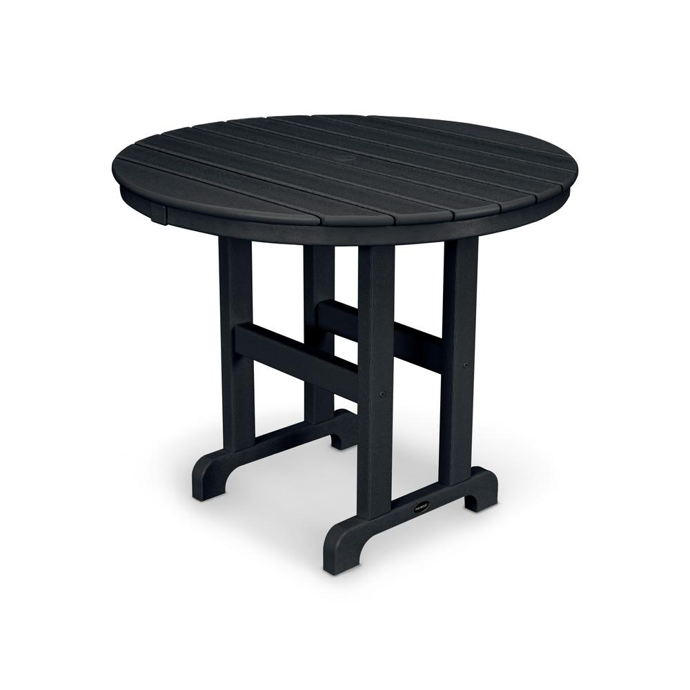 La Casa Cafe 36 in. Black Round Plastic Outdoor Patio Dining