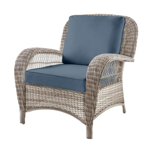 Beacon Park Gray Wicker Outdoor Patio Stationary Lounge Chair with Sunbrella Denim Blue Cushions