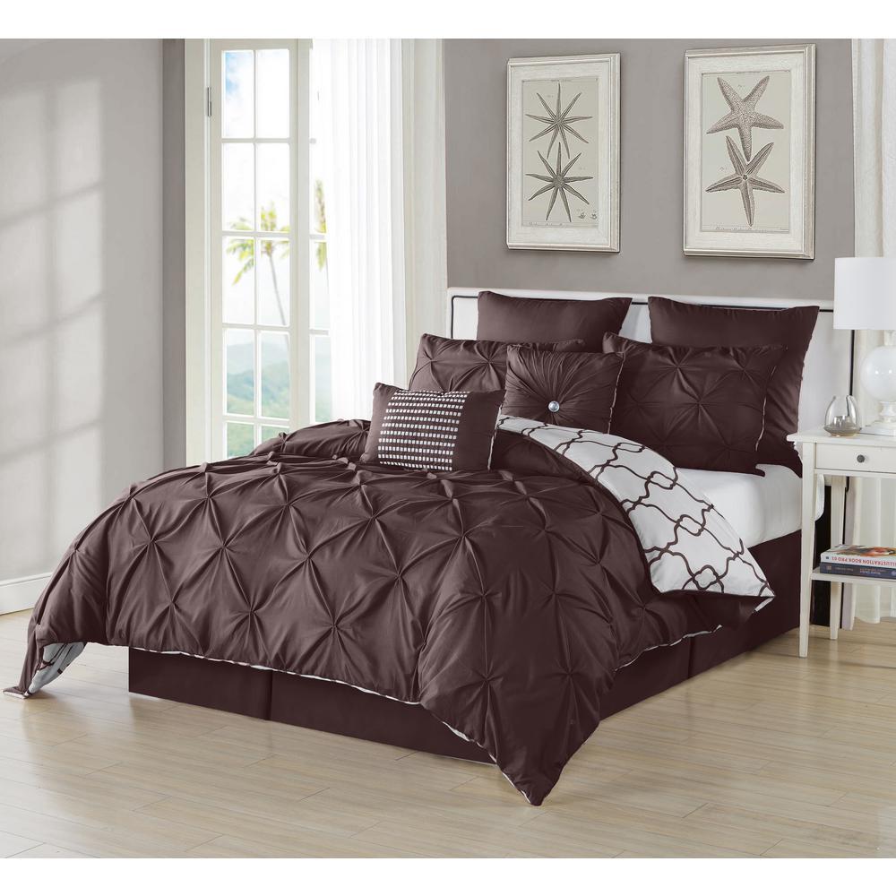 Esy Pintuck Reversible Chocolate 8-Piece Queen Comforter Set
