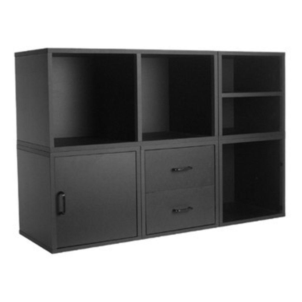 Black 5-in-1 Modular Storage System  sc 1 st  The Home Depot & Black 5-in-1 Modular Storage System-340006 - The Home Depot