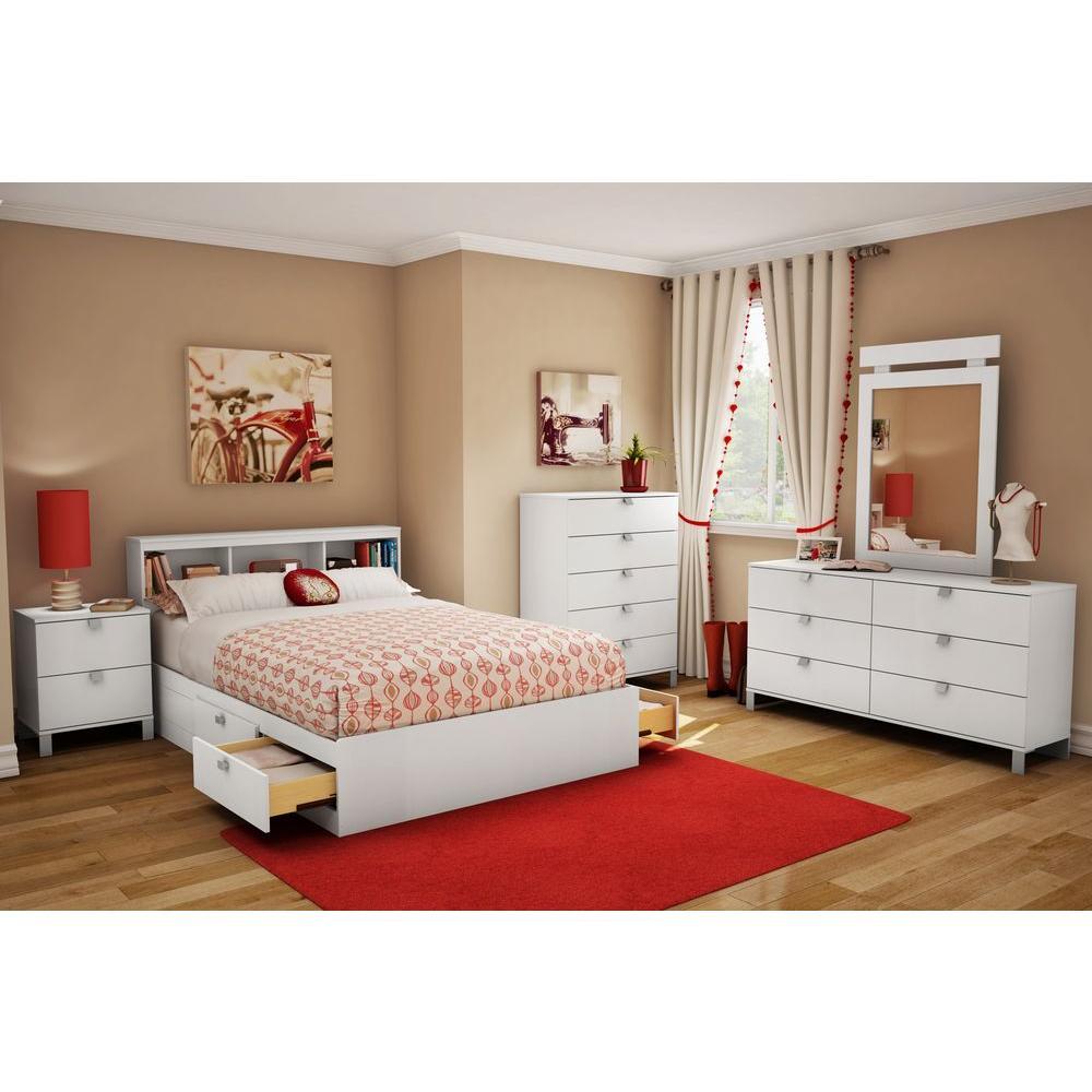 South Shore Spark Full-Size Bookcase Headboard in Pure White 3260093