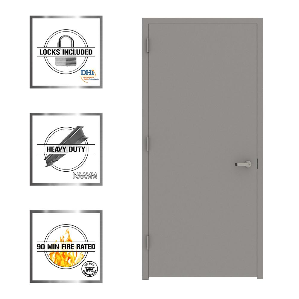 L.I.F Industries 36 in. x 80 in. Gray Flush Right-Hand Fire Proof Steel Prehung Commercial Entrance Door with Welded Frame