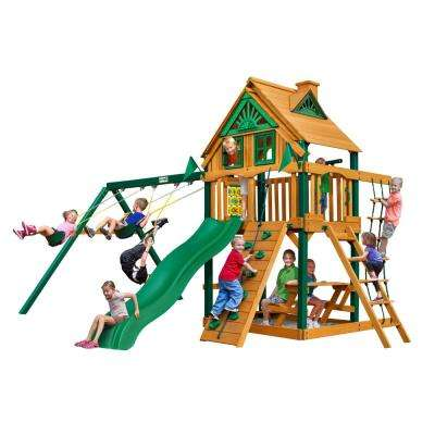 Chateau Treehouse Wooden Swing Set with Timber Shield Posts, Rock Wall and Picnic Table