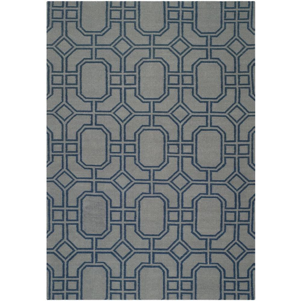 Dhurries Grey/Dark Blue 5 ft. x 8 ft. Area Rug