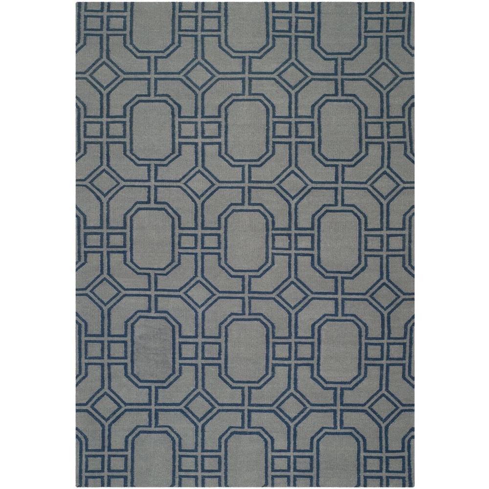 Safavieh Dhurries Grey/Dark Blue 5 ft. x 8 ft. Area Rug