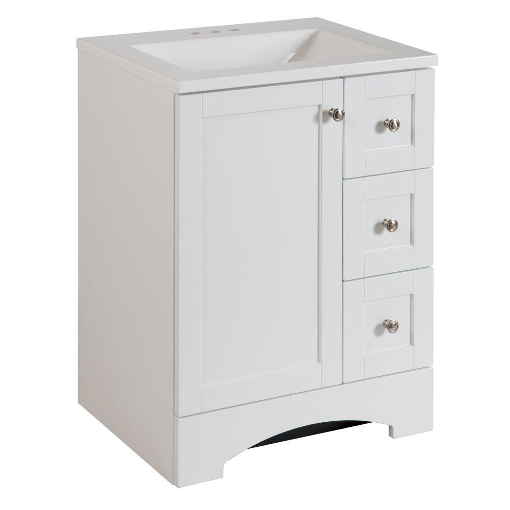 Lancaster 24 in. W Bath Vanity in White with Alpine Vanity Top in White